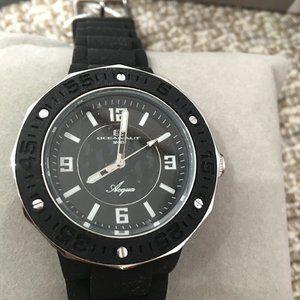 Oceanaut Black & Silver Silicone Watch - NWT
